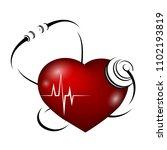 heart rhythm curve and...   Shutterstock .eps vector #1102193819