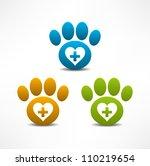 Stock vector veterinary clinic symbol animal paw print 110219654