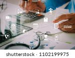 health care system diagram with ... | Shutterstock . vector #1102199975