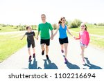 parents with children sport... | Shutterstock . vector #1102216694