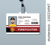 firefighter id card template | Shutterstock .eps vector #1102216967