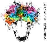 hippie bull terrier in the... | Shutterstock . vector #1102219175