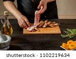 preparing quail specialty ... | Shutterstock . vector #1102219634