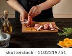 preparing quail specialty ... | Shutterstock . vector #1102219751