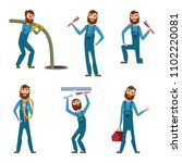 funny character of repairman or ... | Shutterstock . vector #1102220081