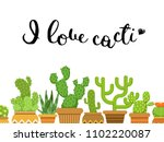 bunch of cacti in pots in flat... | Shutterstock . vector #1102220087