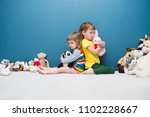 two little kids  brother and... | Shutterstock . vector #1102228667