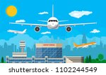 aircraft above the ground.... | Shutterstock .eps vector #1102244549