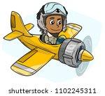 cartoon cute flat bearded pilot ... | Shutterstock .eps vector #1102245311