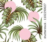 tropical green palm leaves and... | Shutterstock .eps vector #1102250027