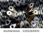 knit baby booties for newborn... | Shutterstock . vector #1102263431