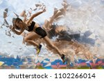 woman sprinter leaving starting....   Shutterstock . vector #1102266014