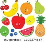 set of happy cartoon fruit...   Shutterstock .eps vector #1102274567