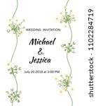 wedding invitation. floral... | Shutterstock .eps vector #1102284719