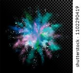 explosion of colored powder.... | Shutterstock .eps vector #1102290419