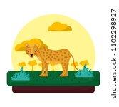 adorable leopard wild animal in ... | Shutterstock .eps vector #1102298927
