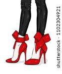 long slender legs in tight... | Shutterstock .eps vector #1102304921