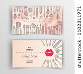 makeup artist business card.... | Shutterstock .eps vector #1102311971