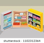 supermarket shelvings with... | Shutterstock .eps vector #1102312364