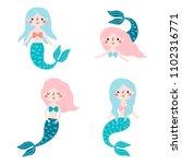 vector set with cute mermaids.   Shutterstock .eps vector #1102316771