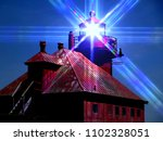 sturgion bay Wisconsin lighthouse door county Wisconsin lake Michigan with colorful prism effect night image