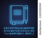 diary notebook neon light icon. ... | Shutterstock .eps vector #1102333244