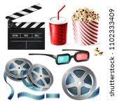 vector realistic set of cinema... | Shutterstock .eps vector #1102333409