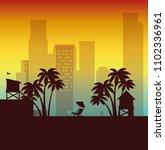 miami beach cityscape scene | Shutterstock .eps vector #1102336961