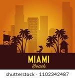 miami beach cityscape scene | Shutterstock .eps vector #1102342487