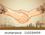 illustration of hand shake with cog wheel hand on industrial background - stock vector