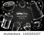 coffee cups  french press ... | Shutterstock .eps vector #1102352237