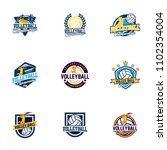 set of volleyball badge design... | Shutterstock .eps vector #1102354004