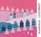 cartoon drawing of christmas... | Shutterstock . vector #1102358657