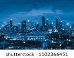 smart city and connection lines.... | Shutterstock . vector #1102366451
