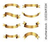 set of golden ribbons vector. | Shutterstock .eps vector #1102369334