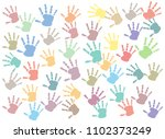 pastel colorful hand print ... | Shutterstock .eps vector #1102373249