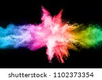 multicolor powder explosion on... | Shutterstock . vector #1102373354