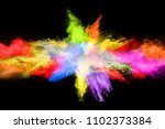 multicolor powder explosion on... | Shutterstock . vector #1102373384