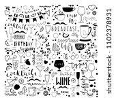 doodle hand drawn drinks... | Shutterstock .eps vector #1102378931