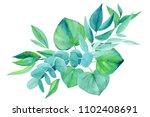 bouquet of green elements ...   Shutterstock . vector #1102408691
