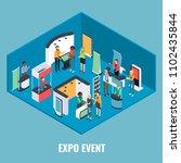 expo event concept flat 3d... | Shutterstock . vector #1102435844