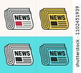vector set icon newspaper.... | Shutterstock .eps vector #1102451939