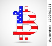 bitcoin sign of american flag.... | Shutterstock .eps vector #1102461131