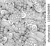 doodle floral background with...   Shutterstock . vector #1102468484