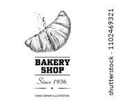 bakery shop poster. fresh baked ... | Shutterstock .eps vector #1102469321