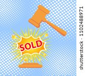 gavel hits stand to stop sale.... | Shutterstock .eps vector #1102488971