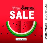 watermelon super summer sale... | Shutterstock .eps vector #1102490651
