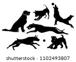 set of cheerful dogs. black... | Shutterstock .eps vector #1102493807