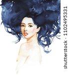 watercolor asian young woman.... | Shutterstock . vector #1102495331