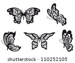 set of black butterfly isolated ... | Shutterstock .eps vector #110252105